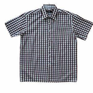 "Mens Checkered Brown & White Shirt, Lrg, 16-161/2"""
